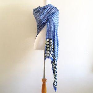 Pls Read - Scarf Wrap Shawl Blue Butterfly Print